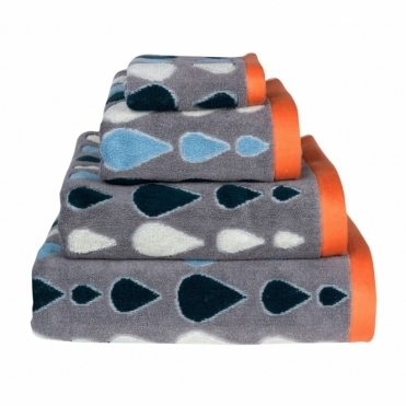 Rain Drops Towels - Grey