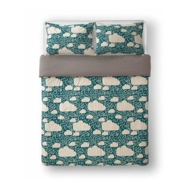 Rainy Day Green Reversible Bed Set - Double