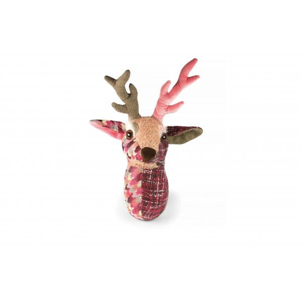 Patchwork Fabric Buck Deer Trophy Animal Head Wall Decor