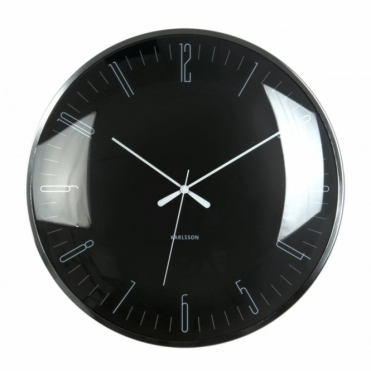 Dragonfly Dome Glass Wall Clock - Black