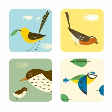 Drink Coasters Set of 4 : Blue Tit, Robin, Thrush & Wagtail in Gift Box