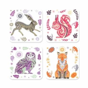 Drink Coasters Set of 4 : Hare, Squirrel, Owl & Fox
