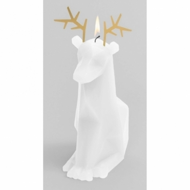Dyri Reindeer Candle with Skeleton - White
