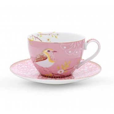 Early Bird Pink Cappuccino Cup & Saucer