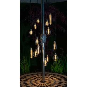 Edison Style Bulb Chandelier Amber LED String Lights - Battery Operated