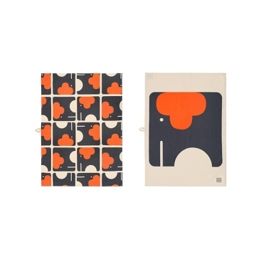 Elephant Tea Towels Pair - Set of 2