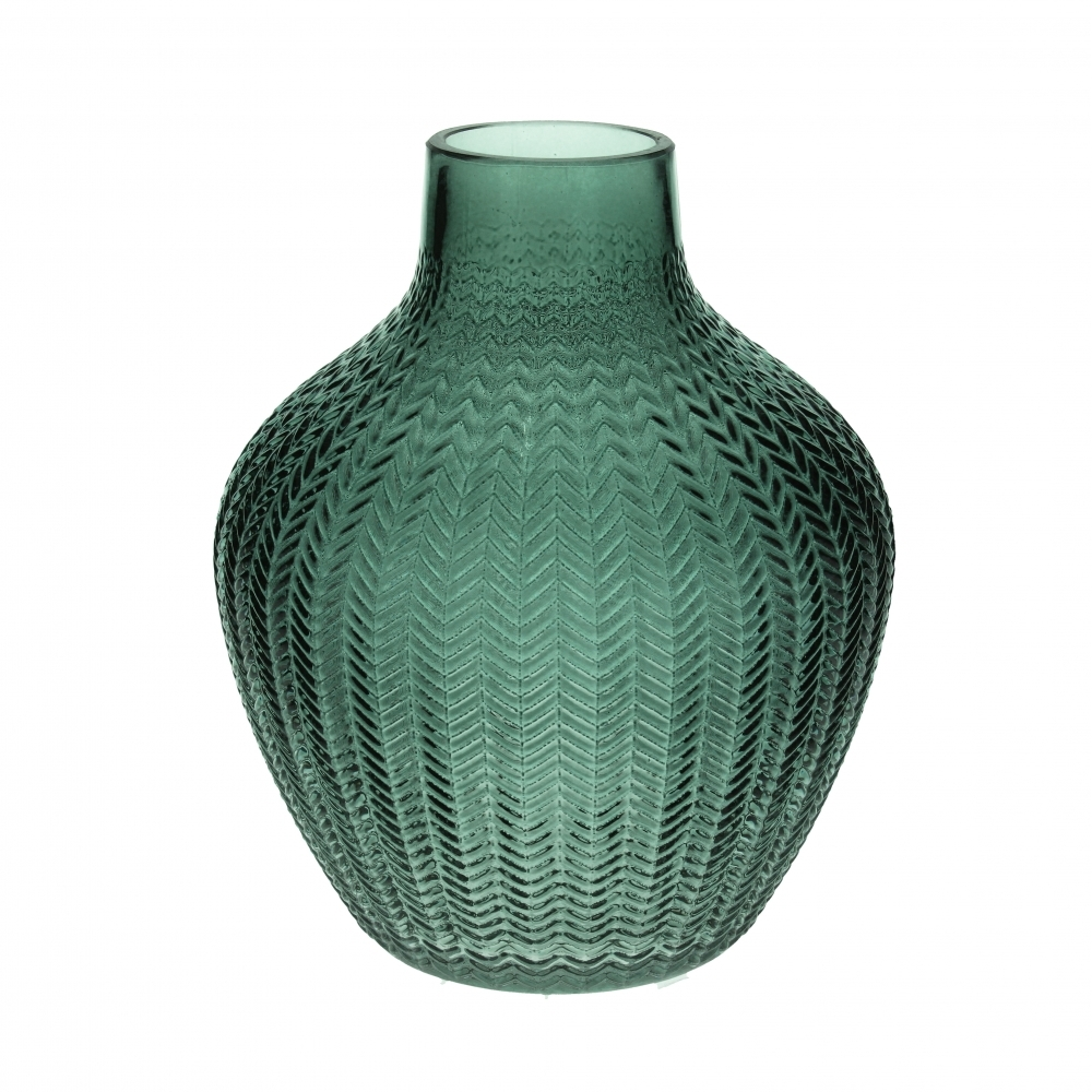 57f7c2043d5d Embossed Chevron Green Glass Vase - Small