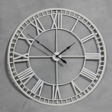 Extra Large Antique Cream Metal Skeleton Wall Clock