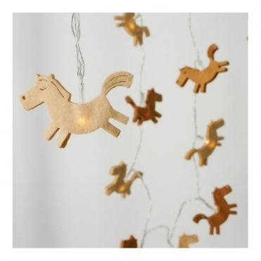 Felt Horse LED Fairy String Light Chain Battery Operated