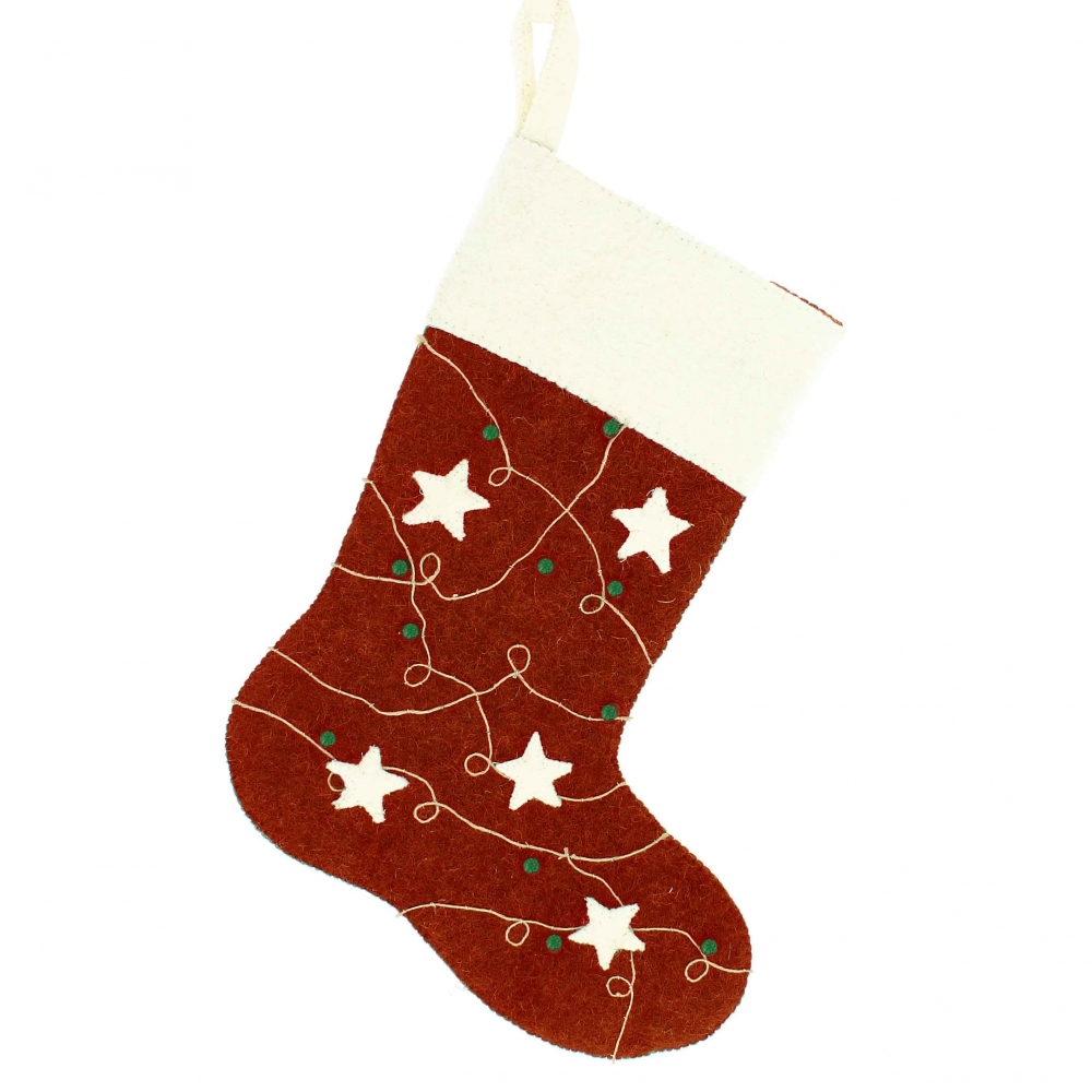 Felt Red Christmas Stocking With Stars \u0026 Berries , Large