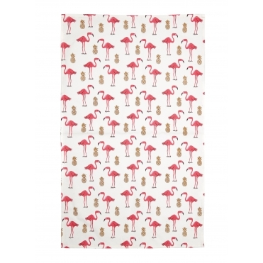 Flamingo & Pineapple Tea Towel