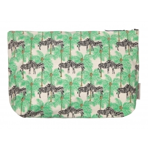 Zebra & Palm Tree Makeup Bag - Large