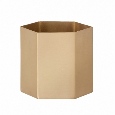 Hexagon Brass Pot - Large