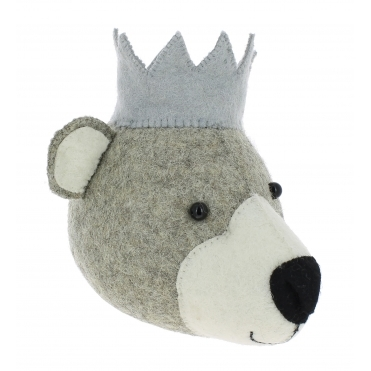 Bear with Crown Felt Animal Wall Head - Mini