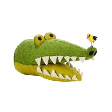 Crocodile with Bird on Nose Felt Animal Head Wall Decor