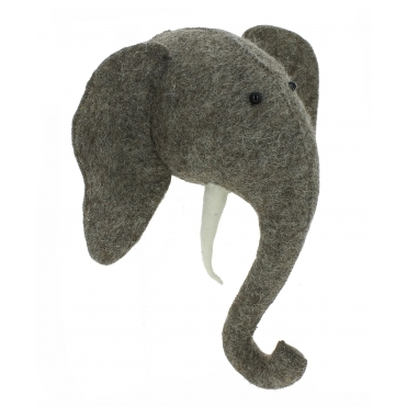 Elephant Felt Animal Wall Head - Mini