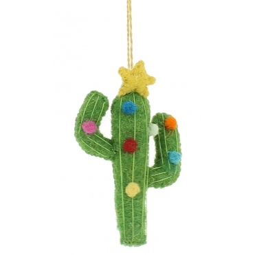 Felt Cactus with Star & Baubles - Hanging Decoration