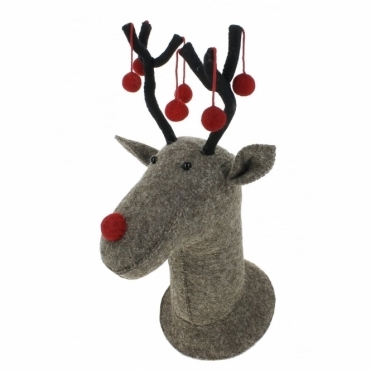 Felt Grey Reindeer Head with Red Baubles / Pom Poms - Wall Decor