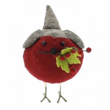Felt Robin with Berries & Leaves on Twig - Large