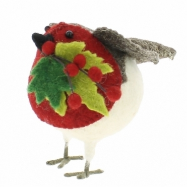 Felt Robin with Berries & Leaves on Twig - Small