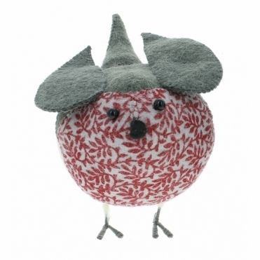 Felt Robin with Print Standing - Large