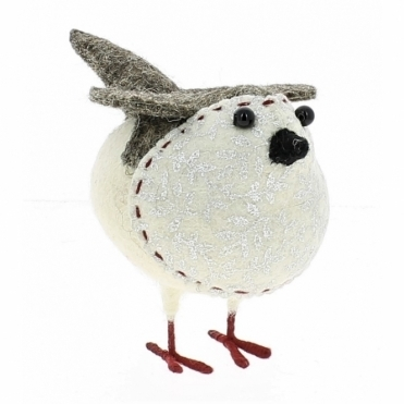 Felt Robin with Silver Leaf Print - Small