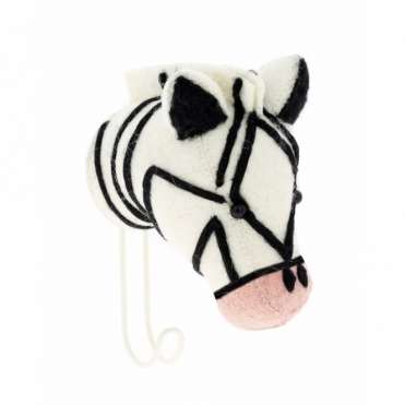 Felt Zebra Head with Pink Nose Coat Hook