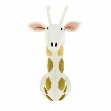 Giraffe with Tonal Spots Felt Animal Head Wall Mounted