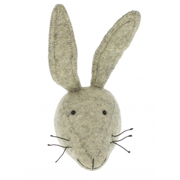 Grey Hare Felt Animal Wall Head - Mini