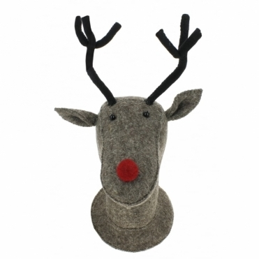 Grey Reindeer Felt Animal Head Wall Decor