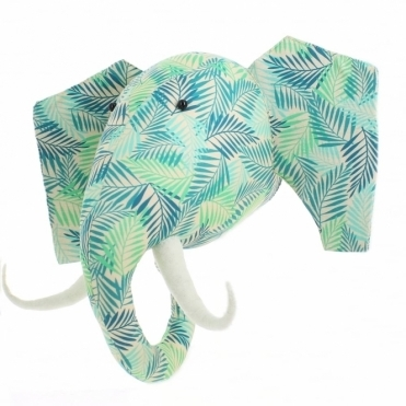 Jungle Leaf Print Elephant Animal Head Wall Decor - Large