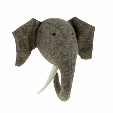 Large Elephant Felt Animal Head Wall Mounted