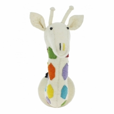 Multi Colour Spots Rainbow Safari Giraffe Felt Animal Head - Wall Mounted