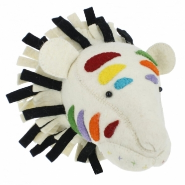Multi Colour Stripe Rainbow Safari Tiger Felt Animal Head - Wall Mounted