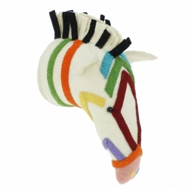 Multi Colour Stripe Rainbow Safari Zebra Felt Animal Head - Wall Mounted