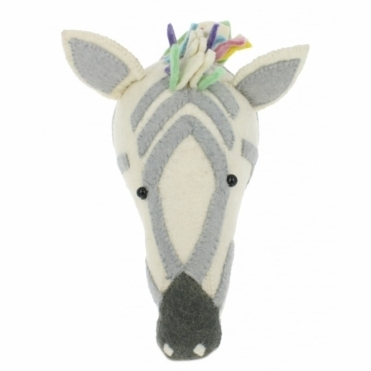 Pastel Safari Zebra Felt Animal Head Wall Mounted
