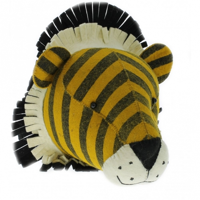 Fiona Walker England Stripe Tiger Felt Animal Head Wall Decor