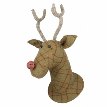Tweed Reindeer Animal Head Wall Mounted