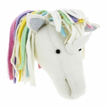 Unicorn Pastel Rainbow Felt Animal Head Wall Decor - Large