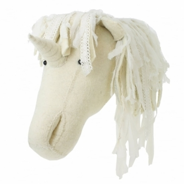 Unicorn with Voile & Lace Mane Felt Animal Head