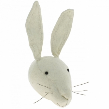 White Rabbit Felt Animal Head Wall Mounted