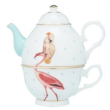Flamingo & Parrot Teapot For One