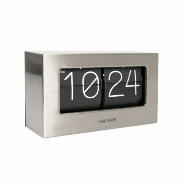 Flip Clock Boxed - Brushed Steel