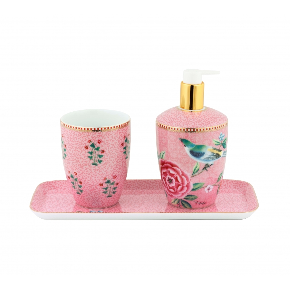 Pip Studio Good Morning Floral Pink Bathroom Accessories Set Of 3
