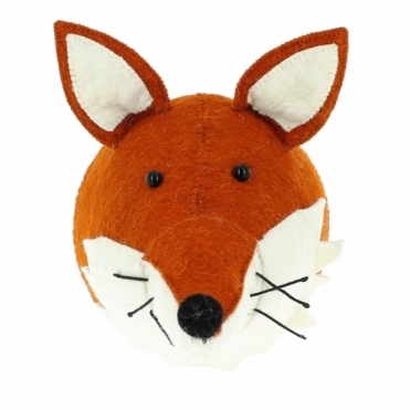 Fox with Ruff Felt Animal Head - Wall Mounted