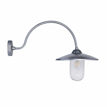 St Ives Arched Swan Neck Light - Galvanised Steel