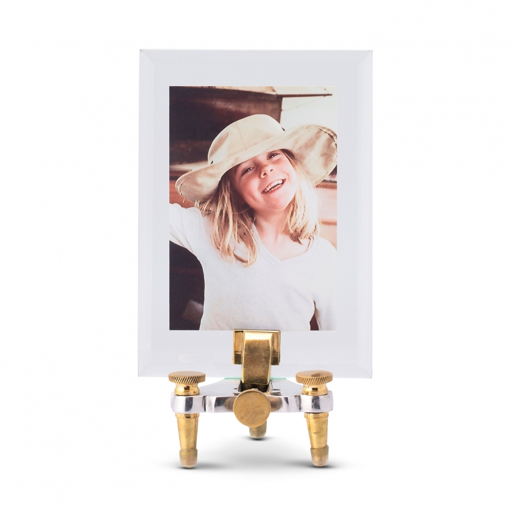 Pendulux Geneva Gold And Silver Glass Picture Frame And Stand Small