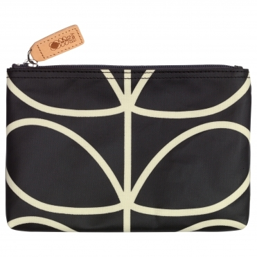 Giant Linear Stem Zip Pouch Bag Medium - Black