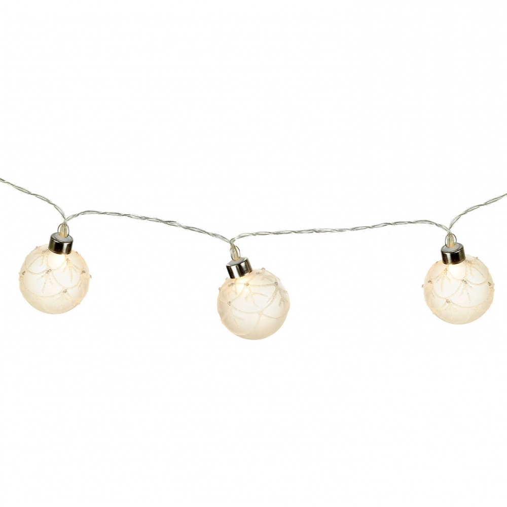 Glass Bauble Warm White Led Christmas Garland Lights Battery Operated