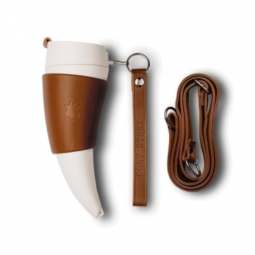 Goat Horn Shaped Mug - Brown Leather